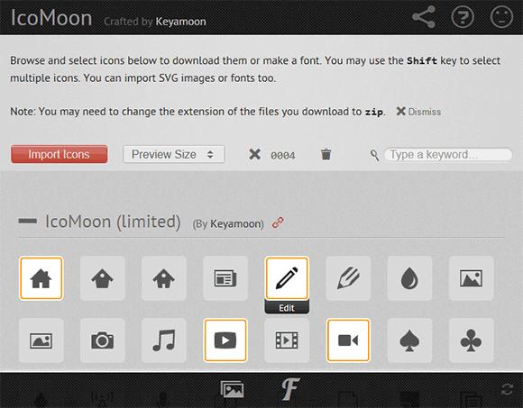 IcoMoon icon browsing