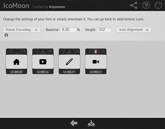 IcoMoon icon pack saving