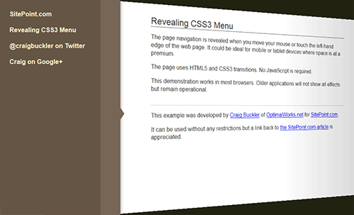 CSS3 Sliding Menu