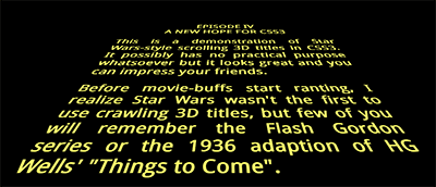 Star Wars 3D scrolling title text