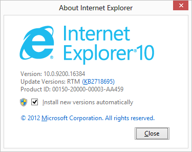 IE10 automatic updates