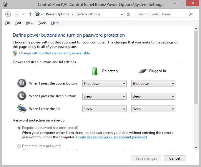 Windows 8 shutdown options