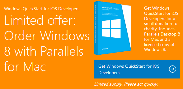 Free Parallels and Windows 8 USB Stick
