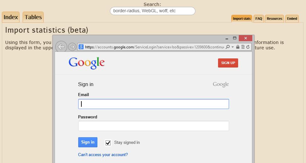caniuse.com Google Analytics account