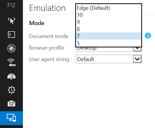 IE11 browser modes