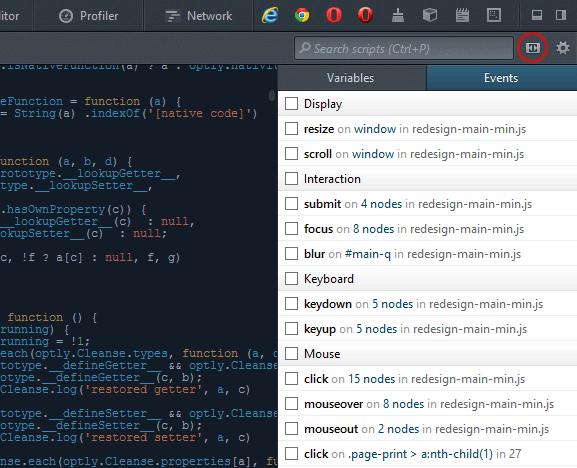 Firefox DOM event debugger